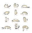 Funny cats collection for your design vector image vector image