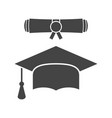 graduation cap and diploma scroll icon in flat vector image vector image