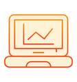 graph on screen flat icon chart on laptop orange vector image vector image