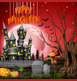 halloween background with castle and scarecrow vector image vector image
