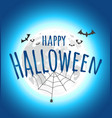 happy halloween greeting card with moon vector image