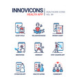 health mobile app line design style icons set vector image
