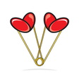 Heart shape paper clips vector image vector image