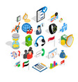 industrial tycoon icons set isometric style vector image vector image