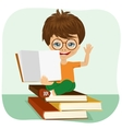 little boy showing an open book vector image vector image