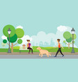 man and woman with pets in the park vector image vector image