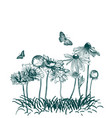 meadow flowers engraved grass sketch vector image