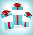 opened blue gift boxes on blue vector image