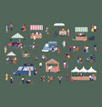 outdoor fair market or street food festival men vector image