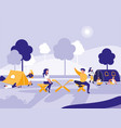 people in park with tents isolated icon vector image