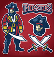 pirate mascot set vector image vector image