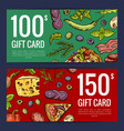 pizza restaurant or shop giftcard or vector image vector image