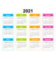 pocket calendar on 2021 year french color vector image vector image