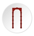 Red arch icon flat style vector image vector image