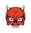 red devil skull head with little horn out vector image