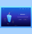 research - modern isometric landing page vector image vector image