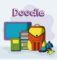 school doodle cartoons vector image vector image