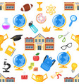 seamless pattern with school building vector image vector image