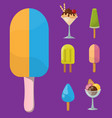 set ice cartoon colorful cream dessert vector image vector image
