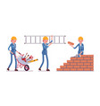 set of female construction worker vector image