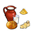sketch dairy products white bread loaf set vector image