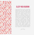 sleep and insomnia concept with thin line icons vector image