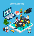 video marketing isometric composition vector image vector image