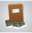 vintage notebook with photo frames vector image