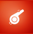 whistle icon on red background referee symbol vector image vector image