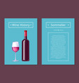 wine history sommelier poster with bottle alcohol vector image