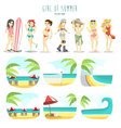 Girl of summer pack vector image