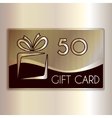abstract gift card for fifty in gold and vector image