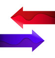 arrows with wave red and purple vector image vector image