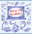 back to school chalkboard ink sketch poster vector image vector image