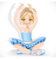 Beautiful ballerina girl in blue dress sit on vector image vector image