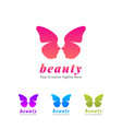 beauty salon and spa with butterfly icon vector image