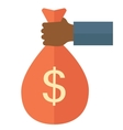 Black hand holding a bag with money vector image