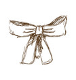 bow ribbon gift in a vintage woodcut engraved vector image vector image