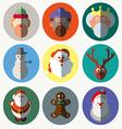 Christmas santa claus wisemen icons set vector image vector image