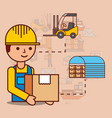 delivery man with cardboard box warehouse and vector image vector image