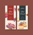 dessert flyer design with cupcake cookie tart vector image vector image