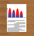 document with wave color chart vector image vector image