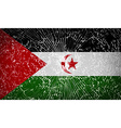 Flags Western Sahara with broken glass texture vector image