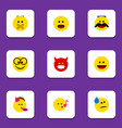 flat icon face set of party time emoticon laugh vector image vector image