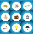 flat icon gain set of growth cash bank and other vector image