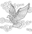 Flying dove in zentangle style vector image vector image