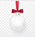 glass transparent christmas ball with red bow vector image vector image