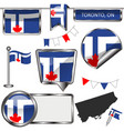glossy icons with flag of toronto ontario vector image