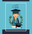 graduation card with woman character vector image vector image