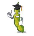 graduation vegetables pod green bean in cartoon vector image vector image